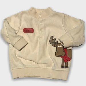 4/$20🥳 Cream Fleece Moose Print Shirt